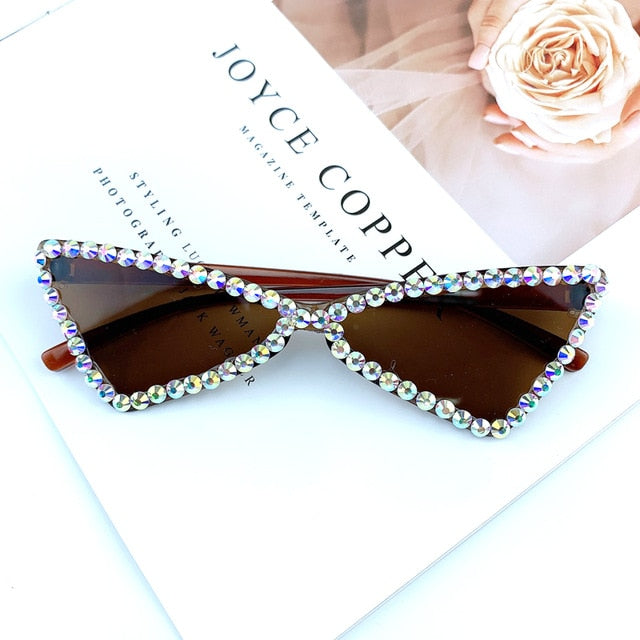 Calanovella Triangle Cat Eye Sunglasses Rimless Vintage Rhinestone Sun Glasses Candy Color Trendy Eyewear