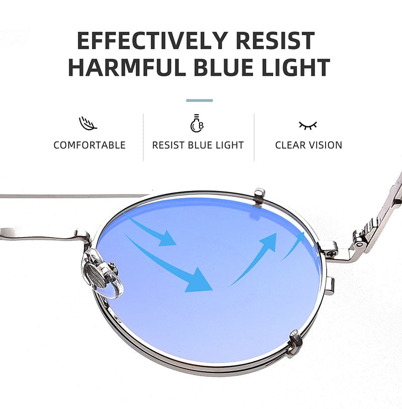 Calanovella Round Fashion Polarized Steampunk Sunglasses Removable Flip Vintage Round Anti Blue Light Glasses