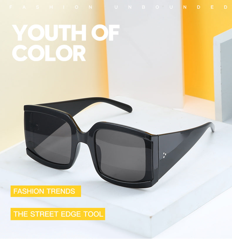 Calanovella Oversized Square Thick Wide Arm Sunglasses UV400