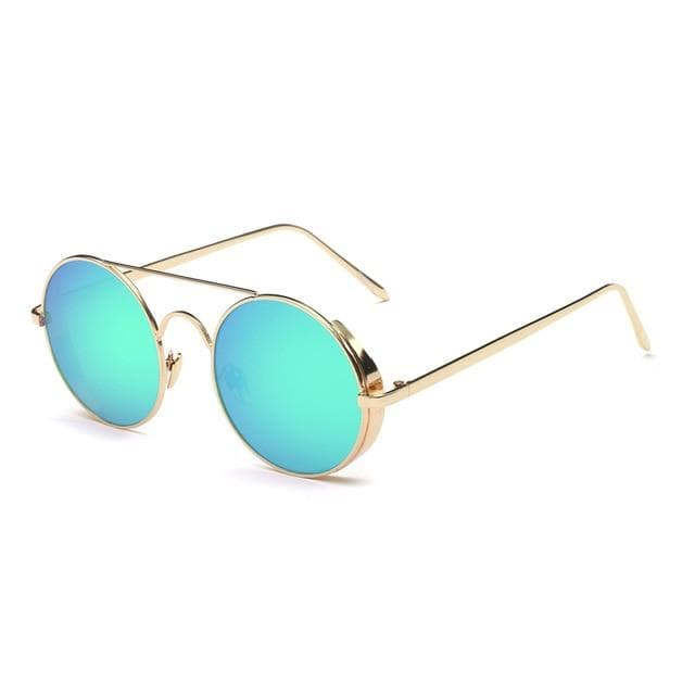 Calanovella Stylish Round Metal Steampunk Sunglasses Polarized for Men Women Vintage Cool Round Lens Metal Fashion Glasses UV400