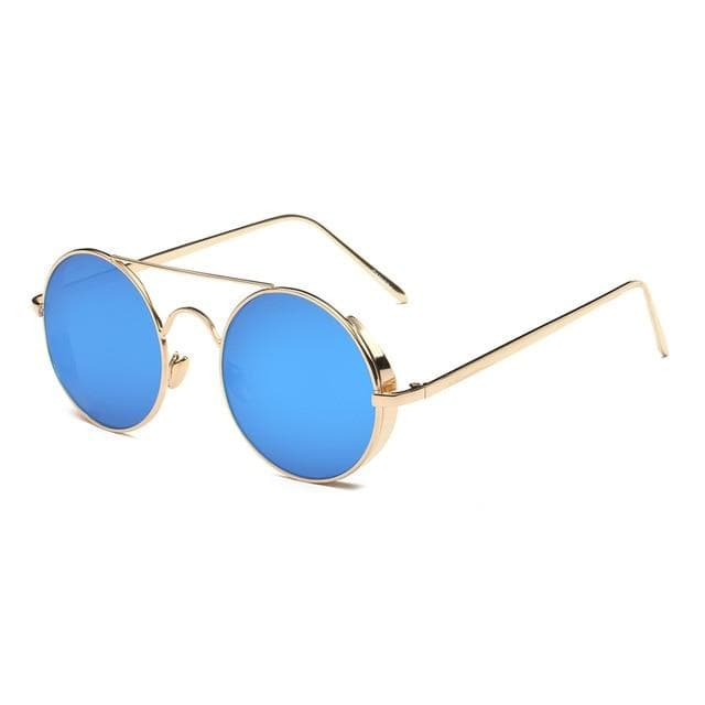 Calanovella Stylish Gold Round Retro Steampunk Sunglasses Polarized for Men Women Vintage Cool Round Lens Metal Wire Frame Fashionable Glasses UV400