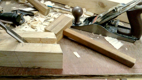Open mortise with a chisel stuck in