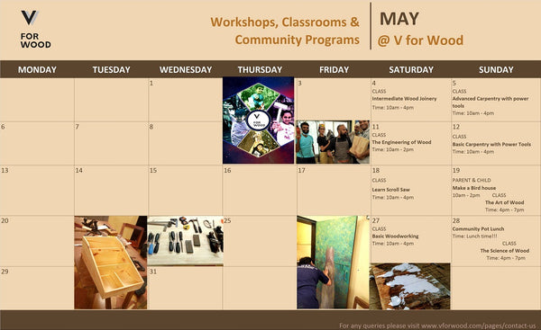 image of schedule for May