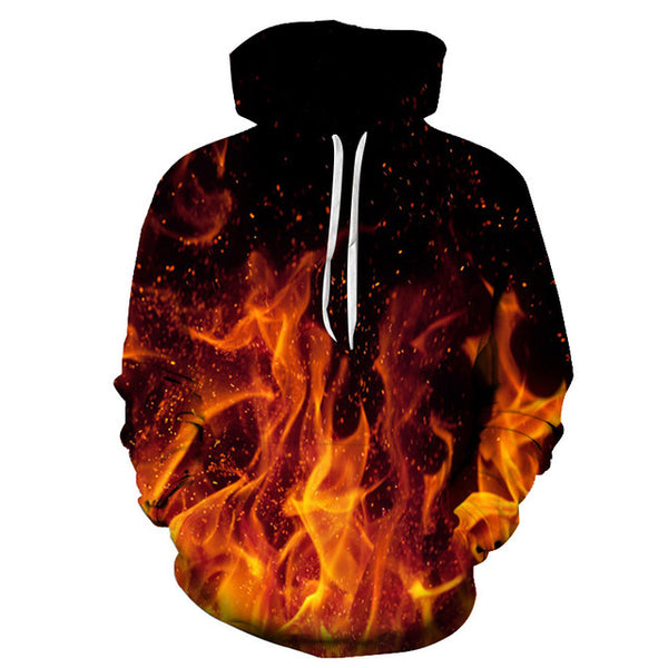 BURNING FLAME PULLOVER HOODIE