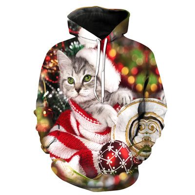 CHRISTMAS CAT PULLOVER HOODIE