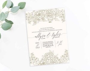 Floral Line Art Modern wedding invitation by Dana Osborne