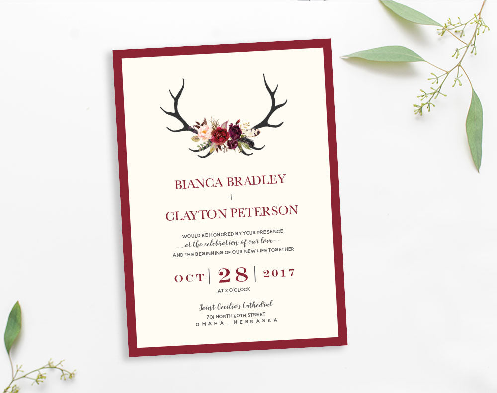 Elk Antler Rustic wedding invitation by Dana Osborne