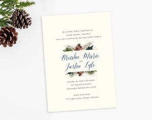 Pinecone Evergreen watercolor wedding invitation by Dana Osborne