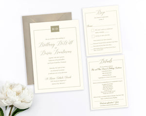 Rectangular monogram gold classic wedding invitation by Dana Osborne