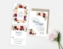 Burgundy Watercolor Classic wedding invitation by Dana Osborne