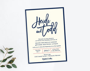 Modern big first name wedding invitation by Dana Osborne