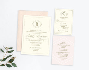 Art Deco Monogram wedding invitation by Dana Osborne