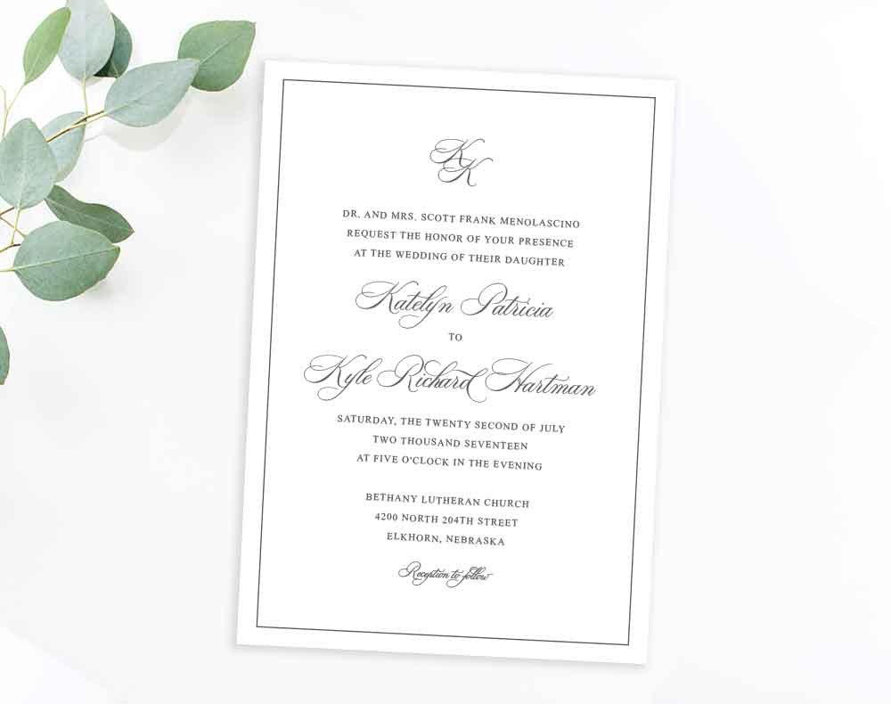 Charcoal monogram classic invitation by Dana Osborne