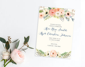 Watercolor Floral Blush wedding invitations by Dana Osborne