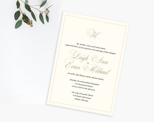 Ivory monogram classic wedding invitation by Dana Osborne