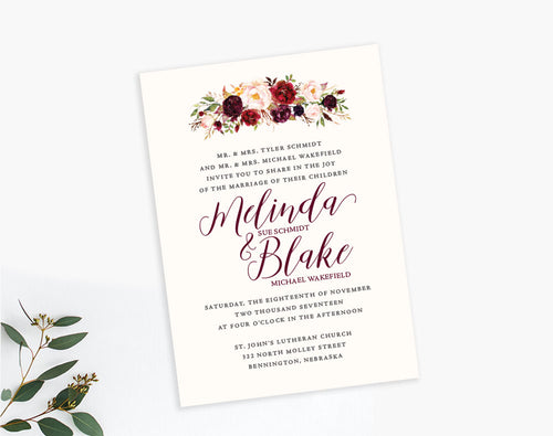 Burgundy Watercolor floral wedding invitation by Dana Osborne