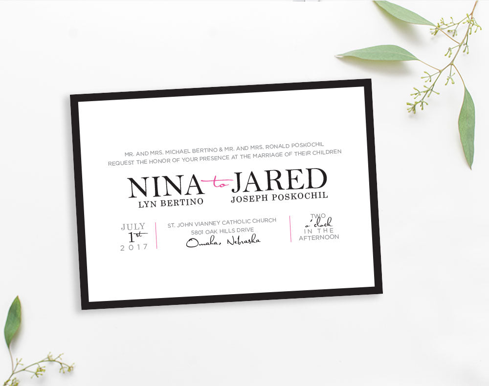 Black and white horizontal wedding invitation by Dana Osborne