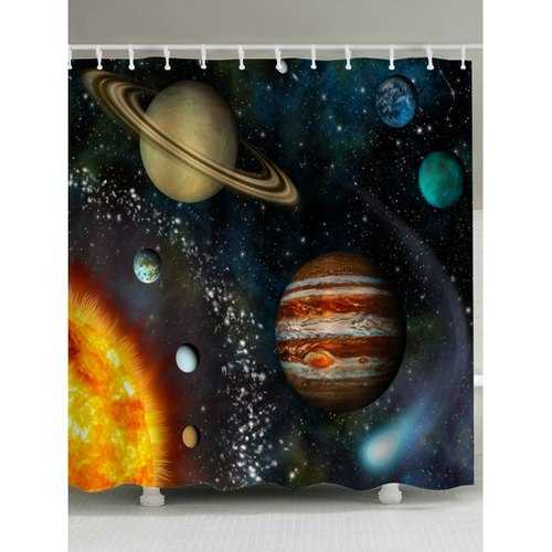Water Repellent Galaxy Planet Shower Curtain