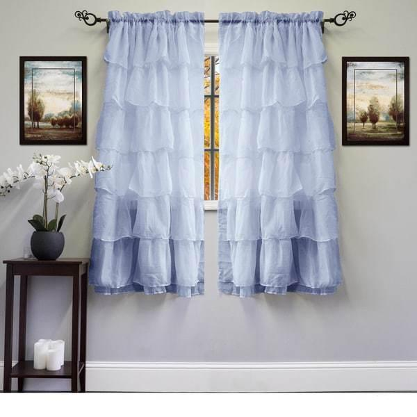 60 Inch X 63 Crushed Voile Ruffle Tier Window Curtains Panel