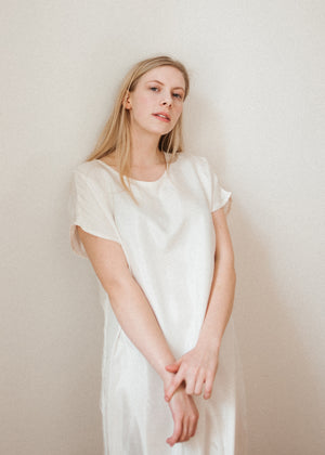 04 Natural white silk dress
