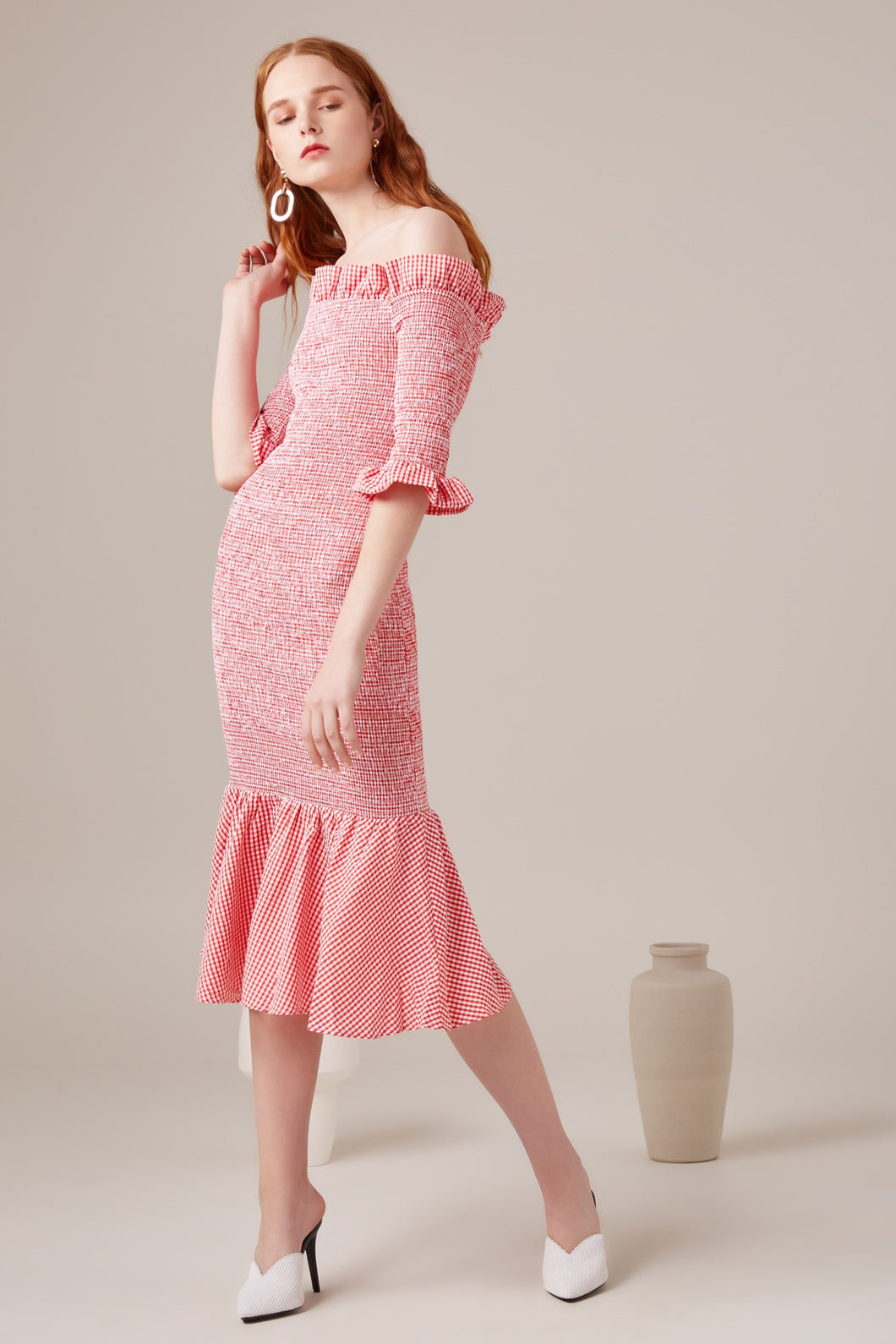 ZA Inspired Midi Dress Melon Check