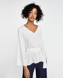 ZA Inspired Top with Belt and Buckle