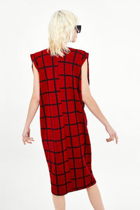 ZA Inspired Checked Dress with Pleated Shoulder