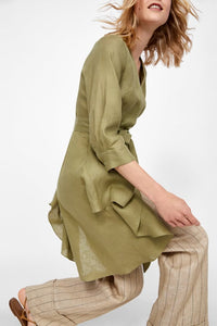ZA Inspired Asymmetric Tunic With Bow