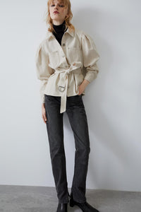 Pleated Shirt with Belt