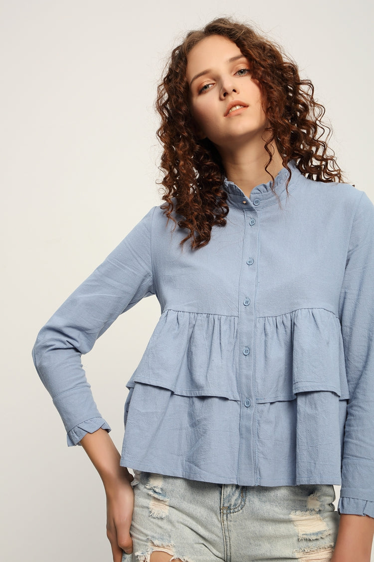 Ruffle Button Shirt