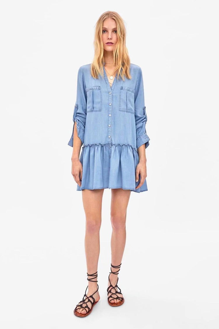 Denim Ruffle Dress with Front Pockets