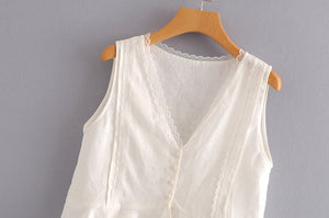 ZA Linen Top With Contrasting Lace