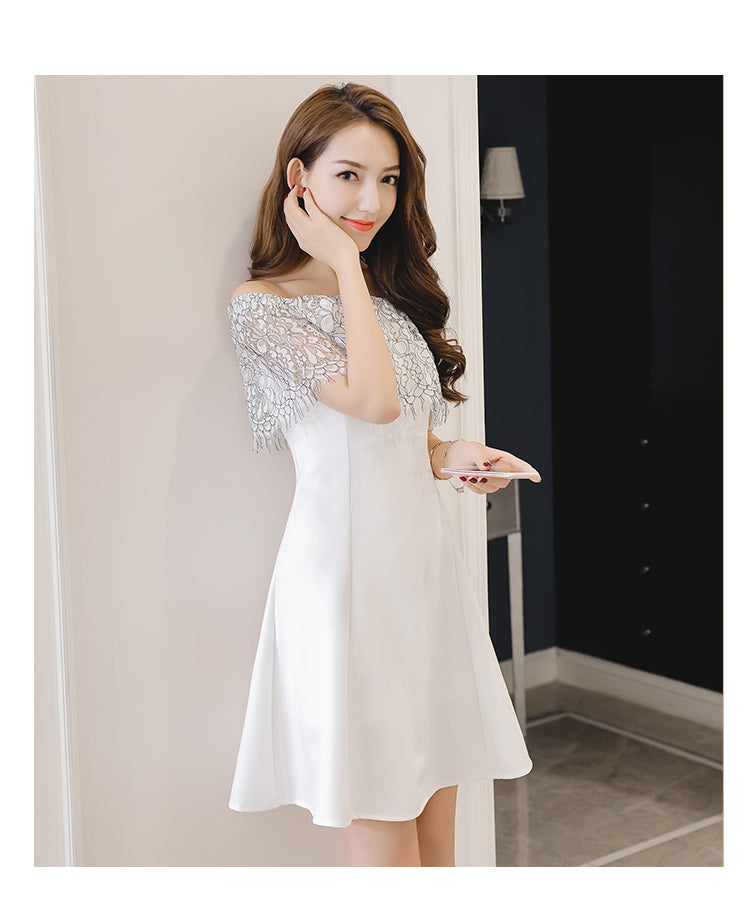 Jane Off Shoulder Contrast Lace Dress