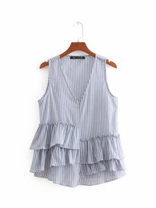 ZA Striped Top with Ruffles