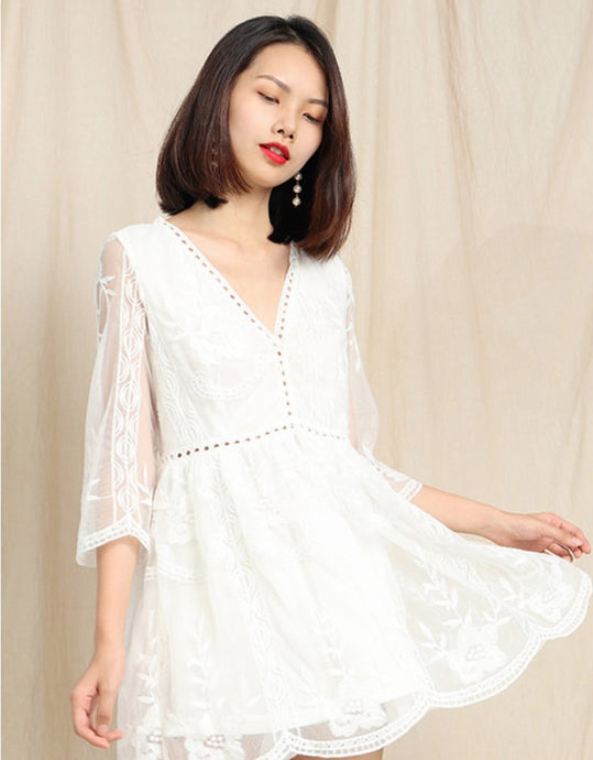 White Long Sleeves Lace Dress