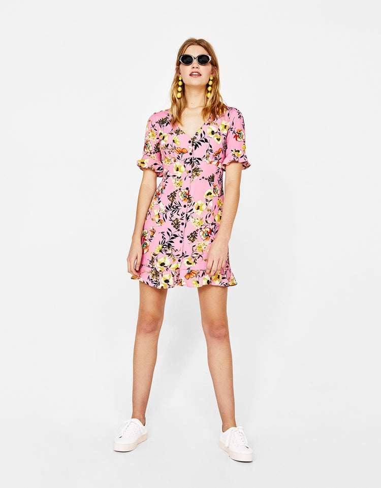 ZA Inspired V-Neck Shirt Dress