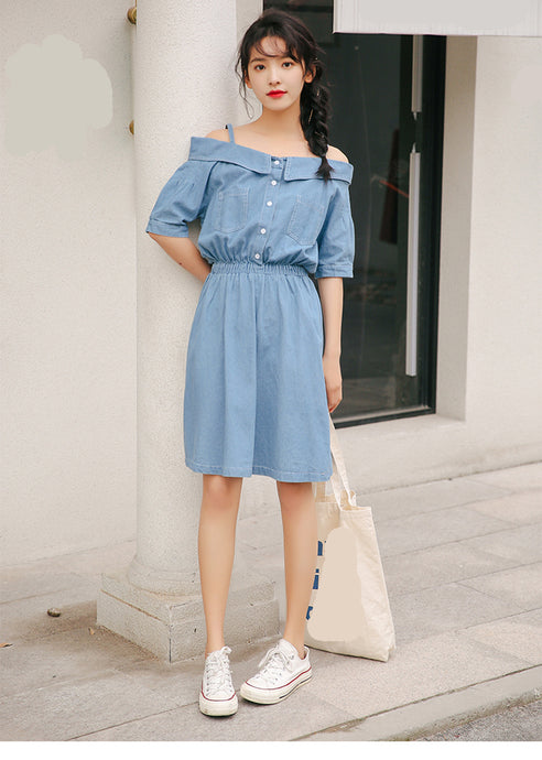 Striped Off Shoulder Denim Dress