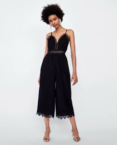 ZA Inspired dotted mesh Jumpsuit with Lace Trim
