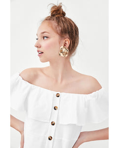 ZA Inspired Off Shoulder White Button Dress