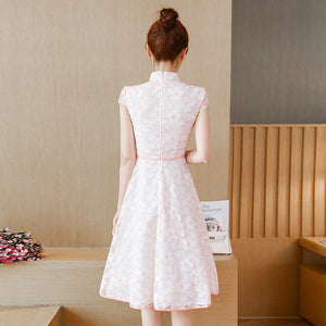 Mona Pink Outline Cheong Sam Dress