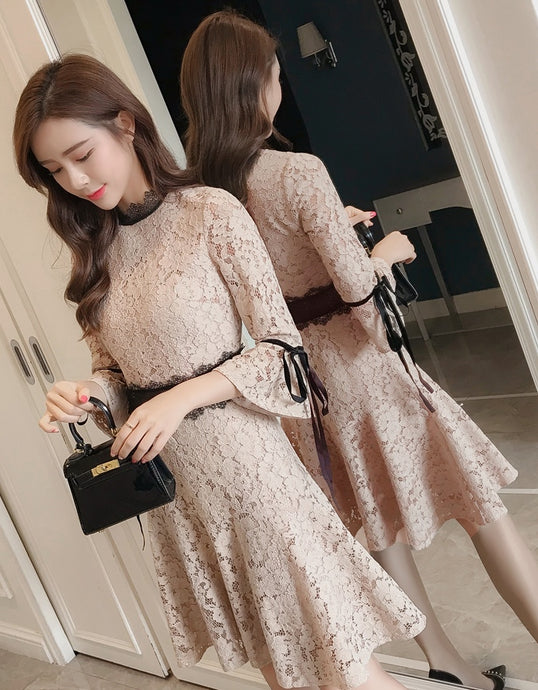 Diana Lace Dress with Contrast Panel