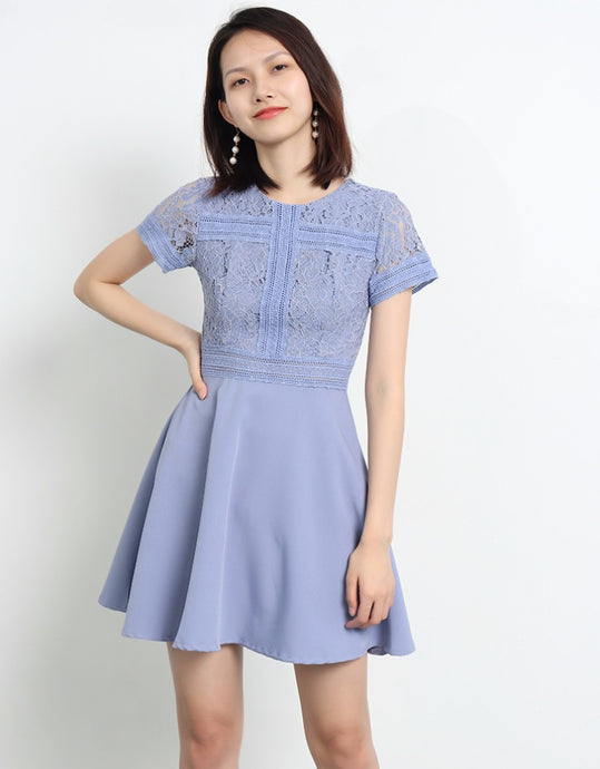 Delica Short Sleeves Lace Dress