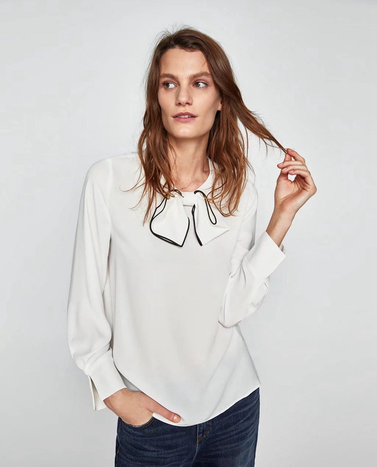 ZARA Inspired Top With Contrasting Bow