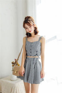Chloe Summer Checked Set (Top with Skirt)
