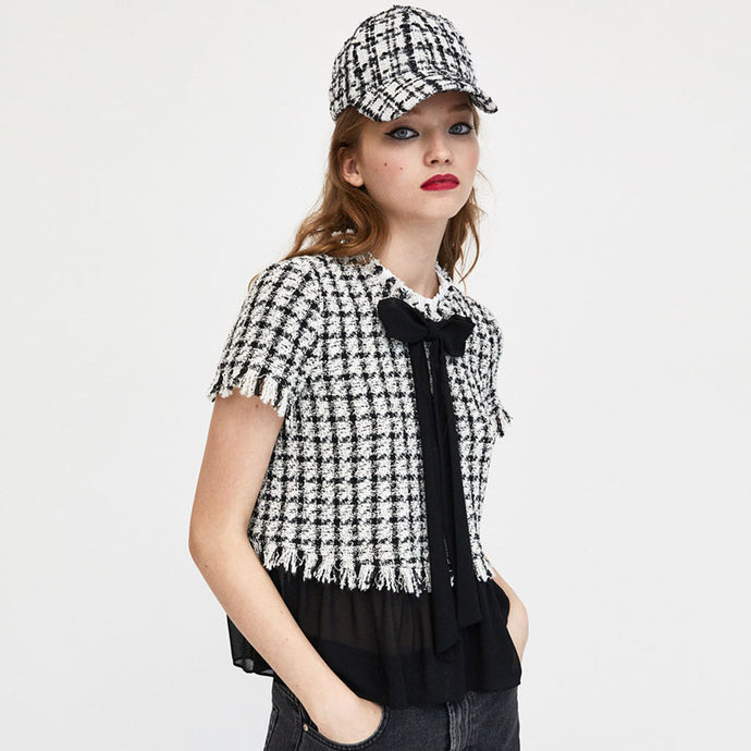 ZA Inspired Bow Contrasting Tweed Blouse