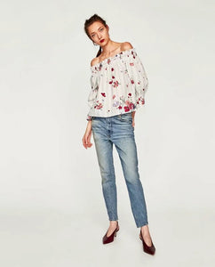 ZA Inspired Off Shoulder Floral Print Top