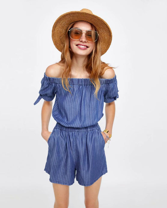 ZA Inspired Striped Jumpsuit with Gathered Neckline