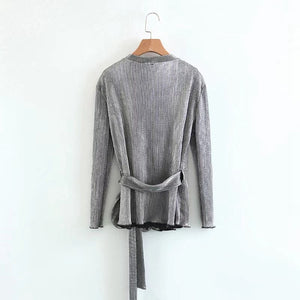 ZA Inspired Silver Wrap Blouse
