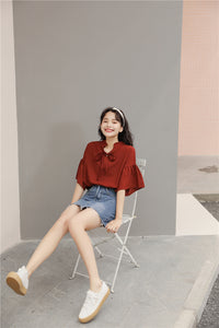 Red Bell Sleeves Top