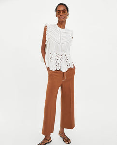 ZA Embroidered Top with Perforations